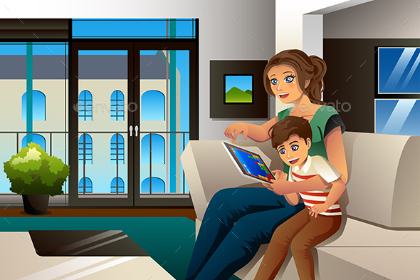 Mother and Son Playing Game on Tablet PC - People Characters