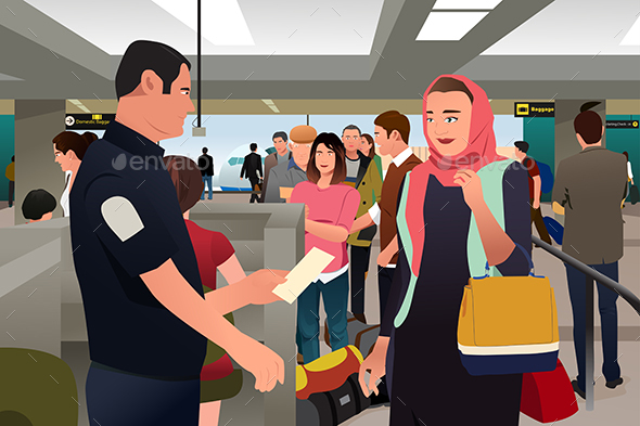 People Being Checked by Custom in the Airport - People Characters