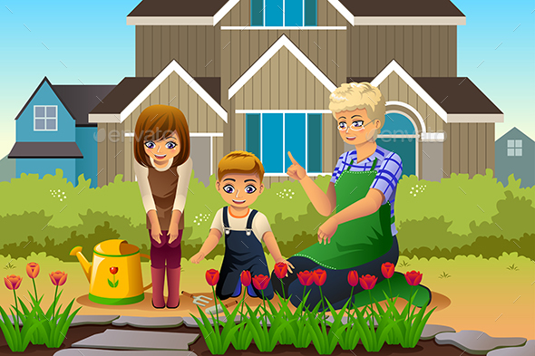 Mother and Children Gardening during Spring Season - People Characters