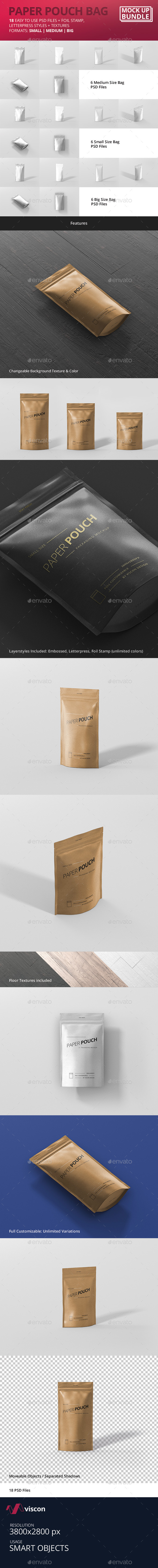 Paper Pouch Bag Mockup Bundle - Food and Drink Packaging