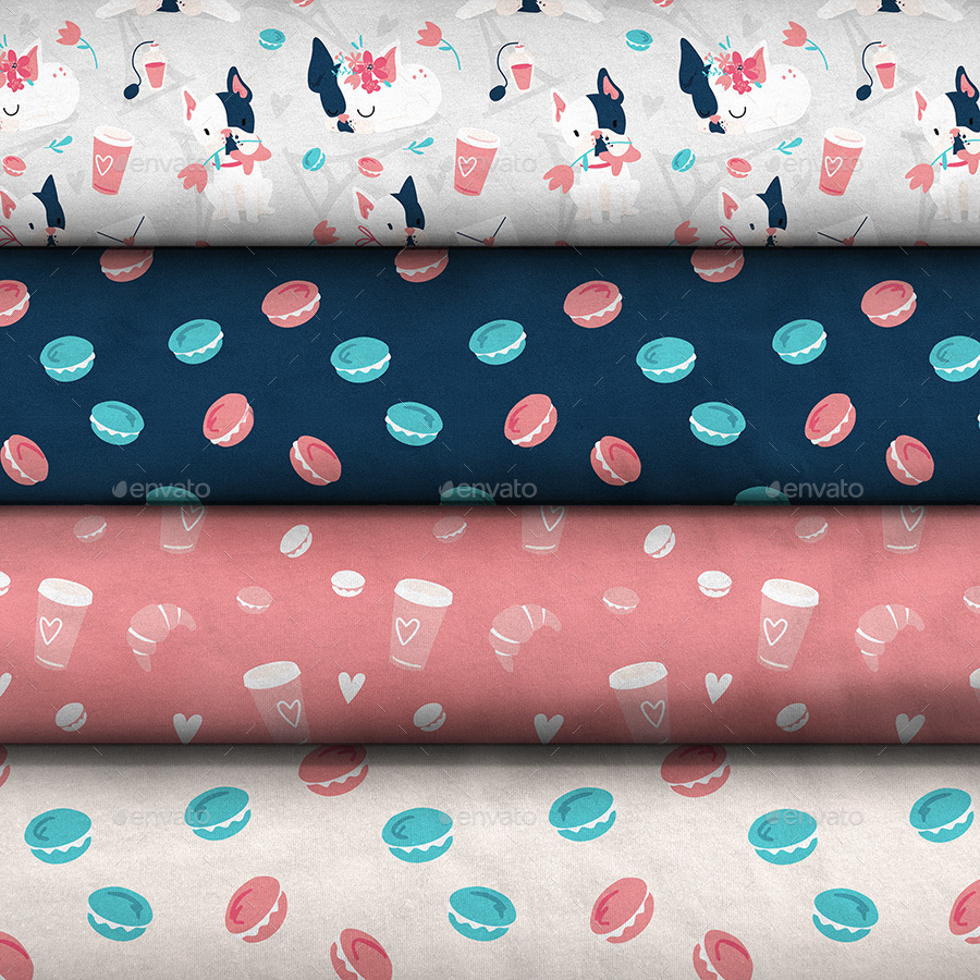 Elegant Logos For College: Pattern Design Collection Fabric Stack Mock-up By Ejanas