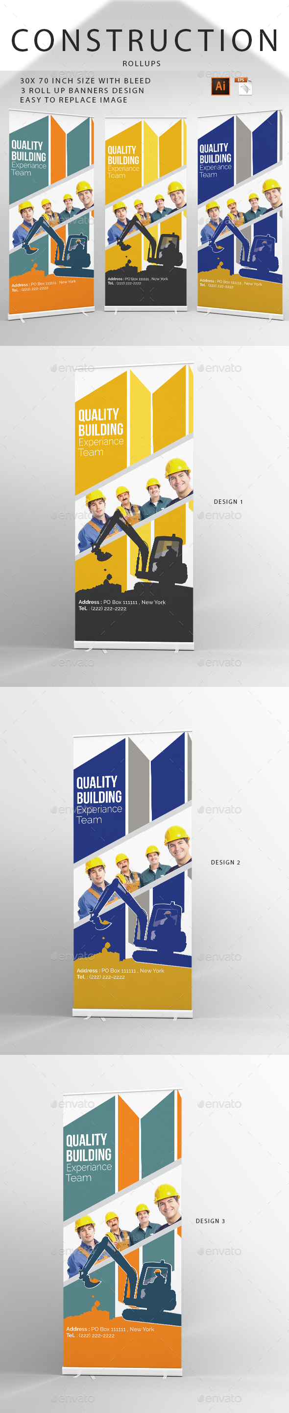 Construction Rollup Banners Template Design - Signage Print Templates
