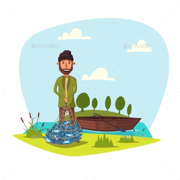 Fisher Man with Catch - Sports/Activity Conceptual