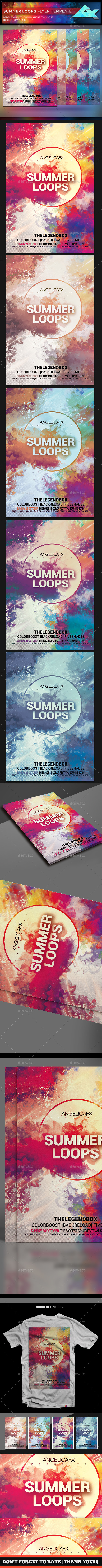Summer Loops Flyer Template - Flyers Print Templates