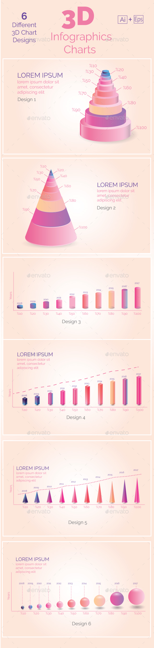 3D Infographics Charts - Infographics