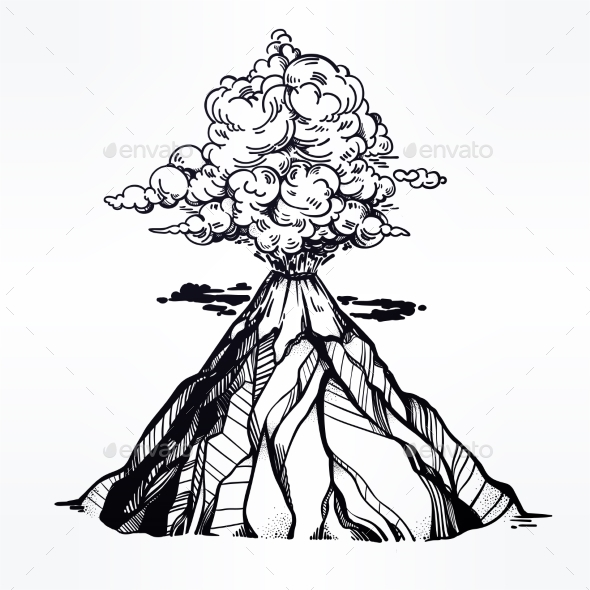Vector Hand Drawn Sketch of the Volcano. - Landscapes Nature