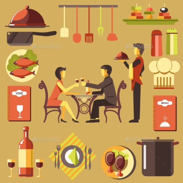 Couple Spending Time at Restaurant and Waiter - Food Objects