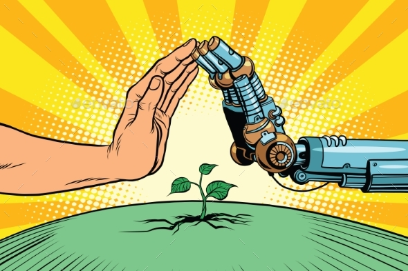 Humans and Robots Protect Nature - Landscapes Nature