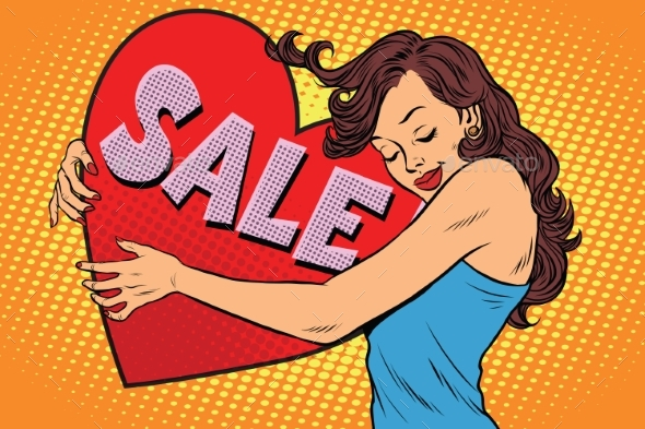 Young Woman Hugging Sale Valentine Heart - Valentines Seasons/Holidays