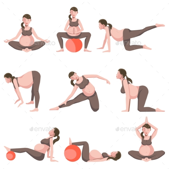 Yoga for Pregnant Women Icons Collection - Sports/Activity Conceptual