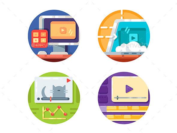 Video Media Icons - Web Elements Vectors