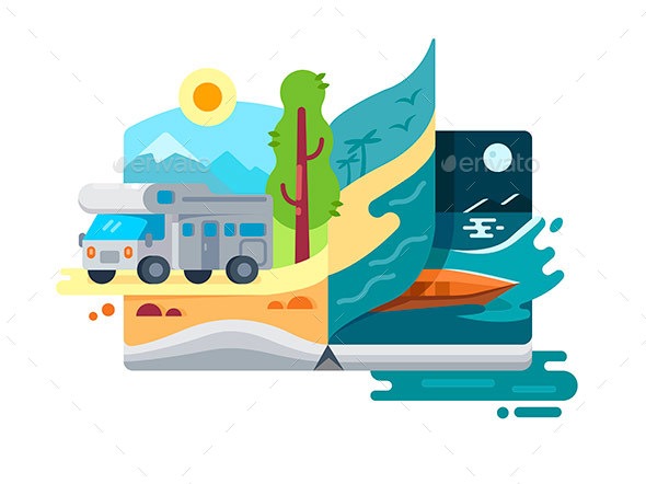 Holidays and Vacations in Nature - Miscellaneous Vectors