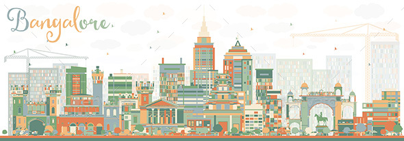 Abstract Bangalore Skyline with Color Buildings. - Buildings Objects