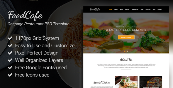FoodCafe – Onepage Restaurant PSD Template