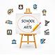 Art School Concept with Easel. Vector