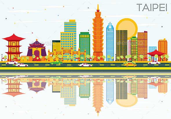 Taipei Skyline with Color Buildings, Blue Sky and Reflections. - Buildings Objects