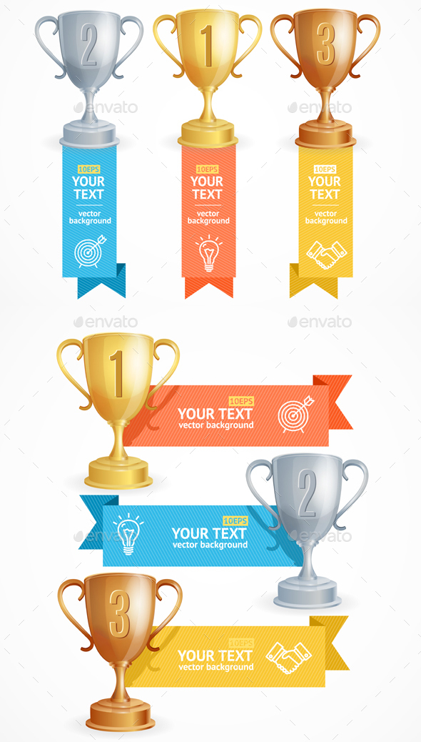 Award Cup Menu Infographic Option Banner Card. Vector - Business Conceptual