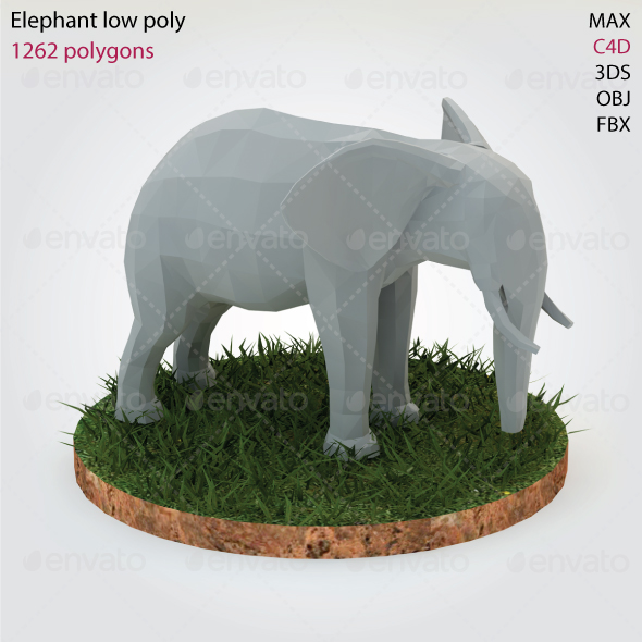 Elephant - Low Poly - 3DOcean Item for Sale