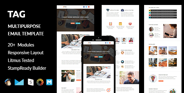 TAG - Multipurpose Responsive Email Template with Stampready Builder Access - Email Templates Marketing