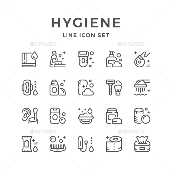 Set Line Icons of Hygiene - Man-made objects Objects
