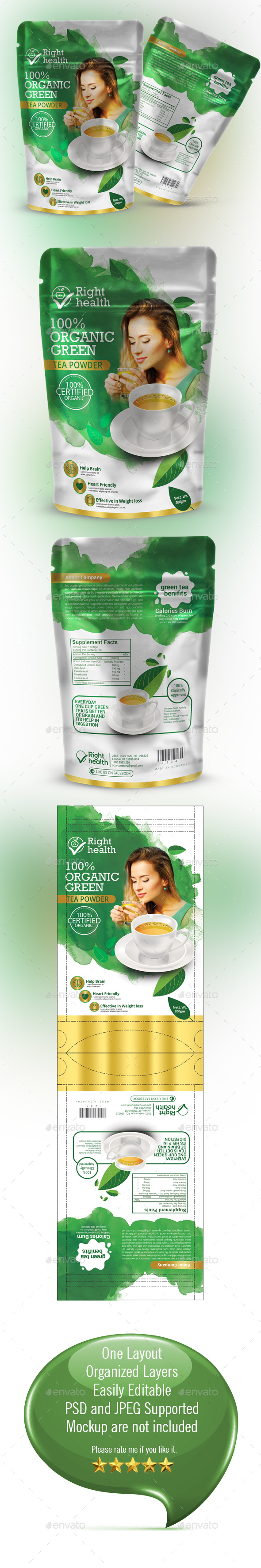 Tea Packaging Template - Packaging Print Templates