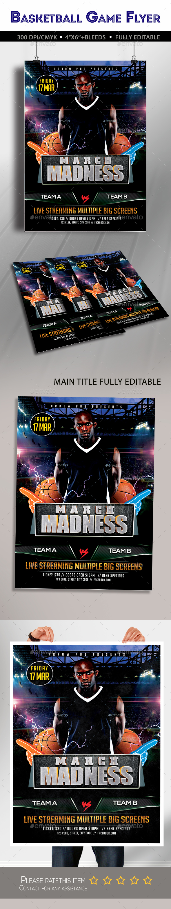 March Madness Championship Flyer - Clubs & Parties Events