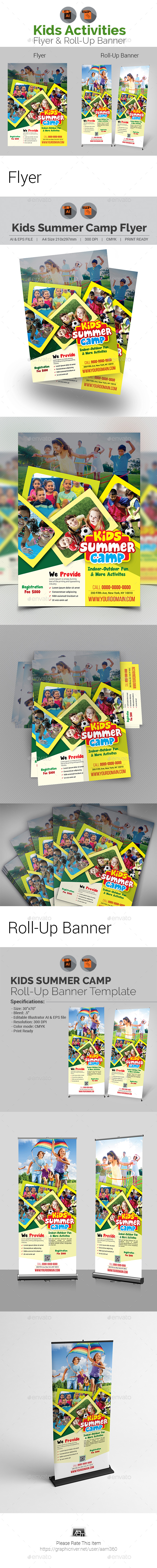 Kids Activities Flyer & Roll-Up Banner - Print Templates
