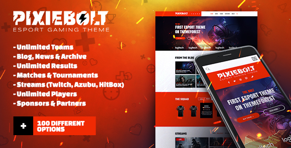 PixieBolt – eSports Gaming Theme For Clans & Organizations