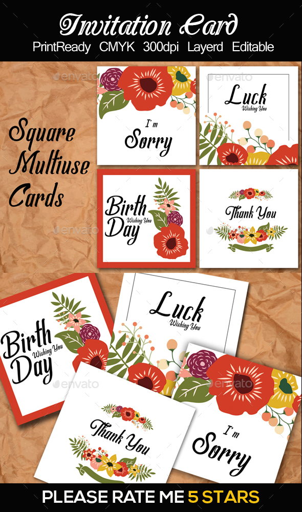 Square Multi Use Cards Templates - Cards & Invites Print Templates