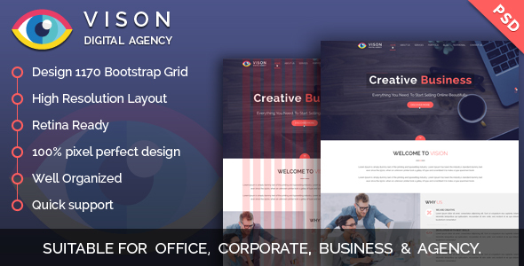 Vision Digital Agency – Multipurpose One Page PSD Template