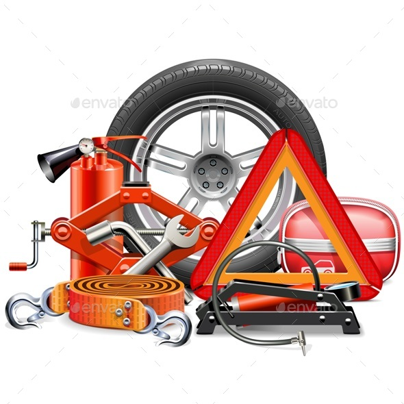 Vector Car Accessories Concept - Industries Business