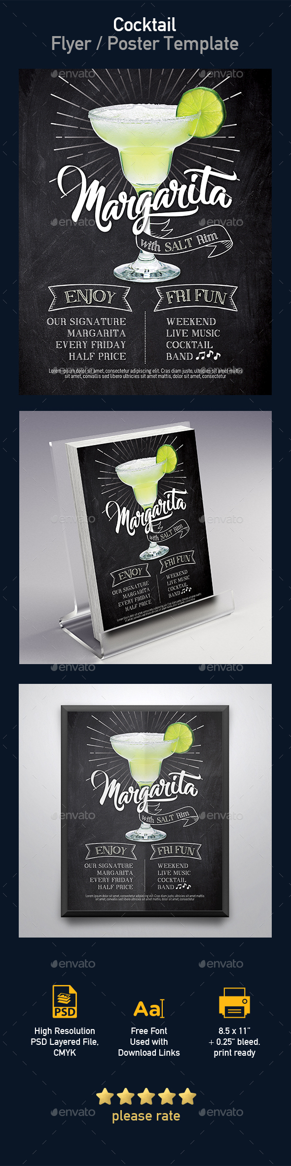 Margarita Cocktail Flyer Template - Events Flyers