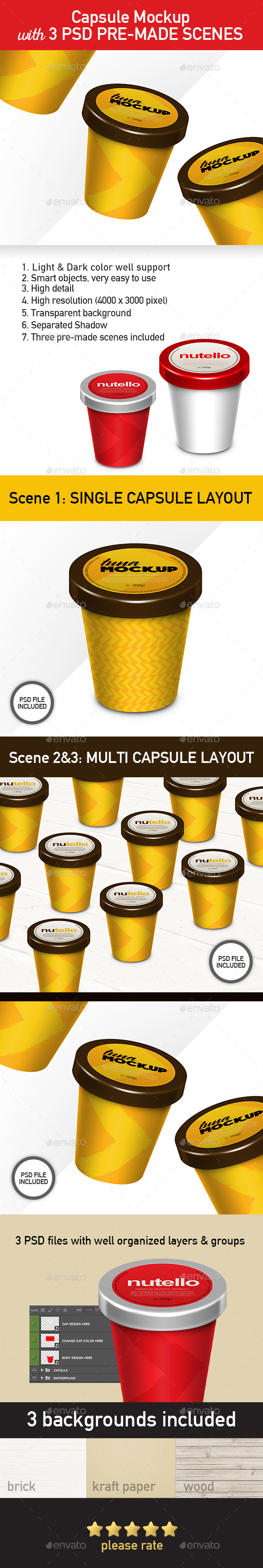 Capsule Container Mockup - Food and Drink Packaging