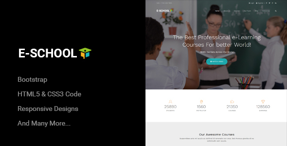 E-School - Professional Learning and Courses HTML5 Template - Corporate Site Templates