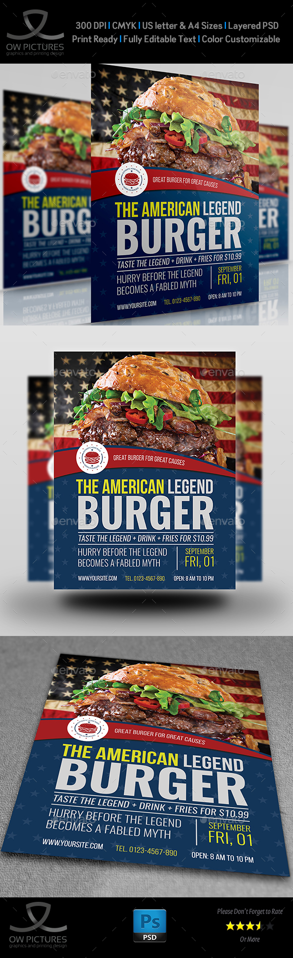 Burger Restaurant Flyer Template Vol.7 - Restaurant Flyers