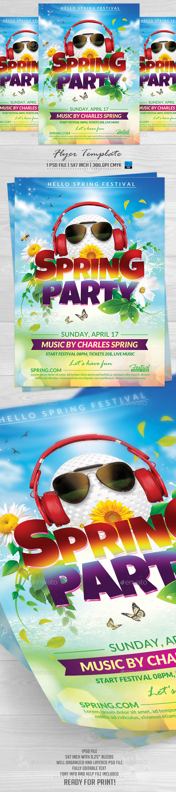 Spring Party Flyer Template - Events Flyers