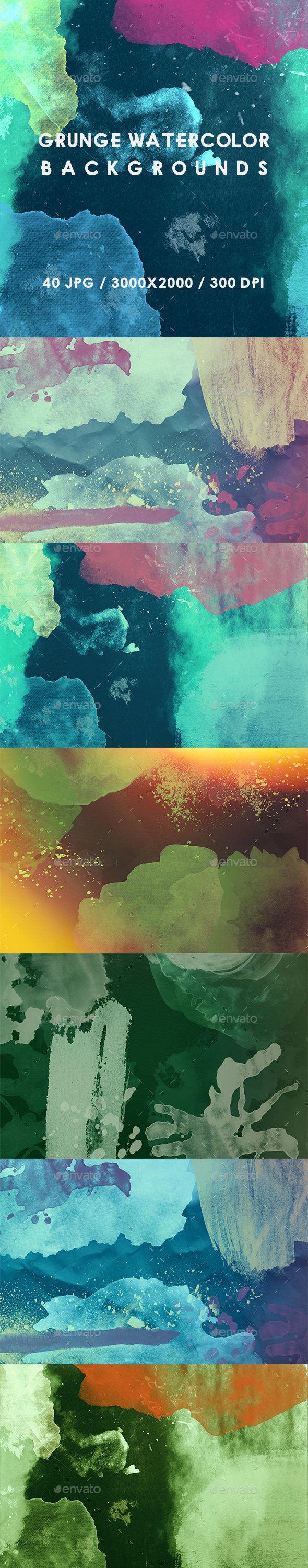 Grunge Watercolor Backgrounds - Abstract Backgrounds