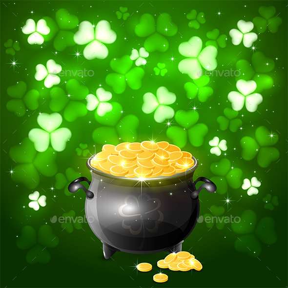 Patrick Day Background with Clover and Gold - Miscellaneous Seasons/Holidays