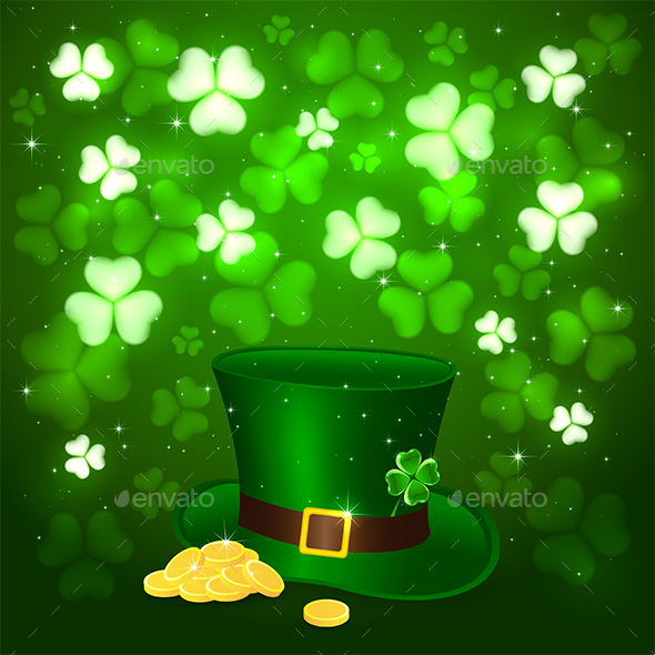 Patrick Day Background with Clover and Hat Leprechauns - Miscellaneous Seasons/Holidays