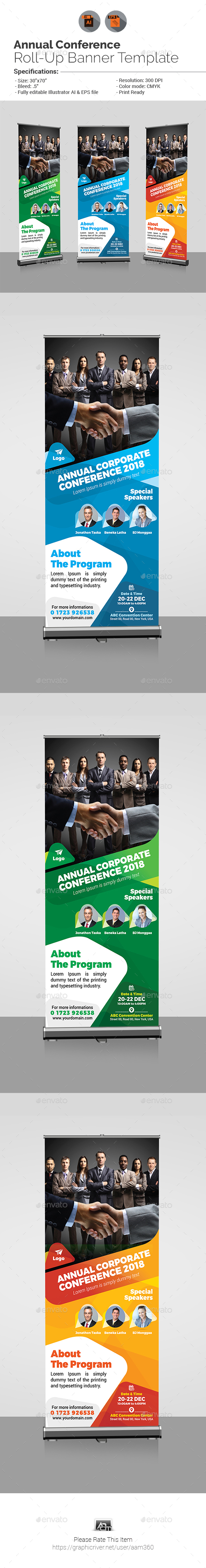 Annual Corporate Conference Roll-up Banner - Signage Print Templates