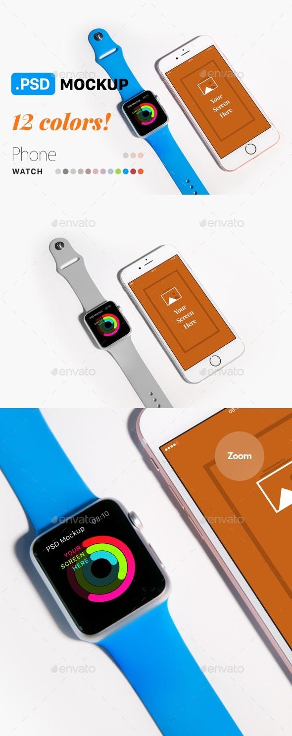 Phone & Watch Mockup - Mobile Displays