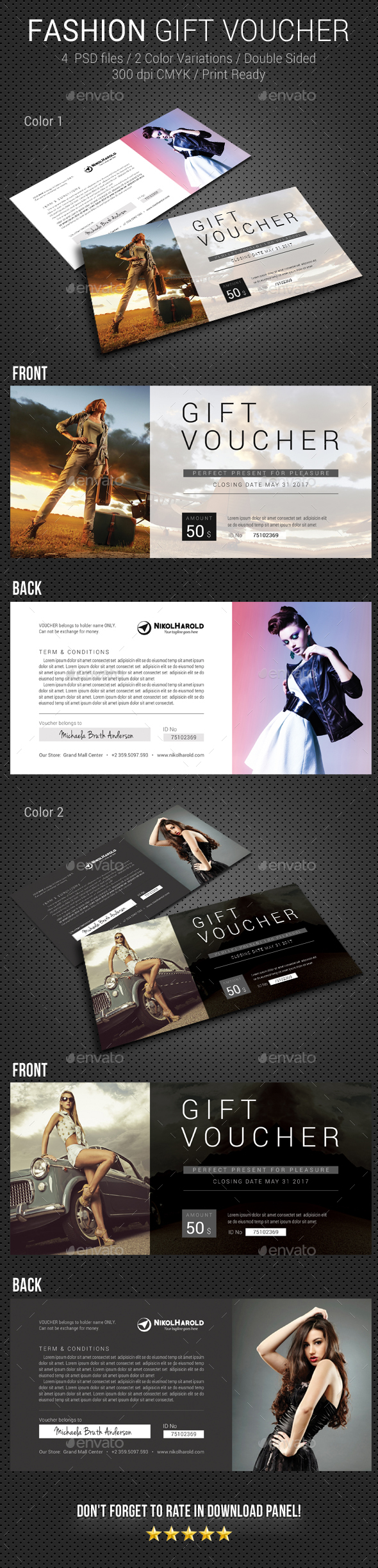 Fashion Gift Voucher - Loyalty Cards Cards & Invites