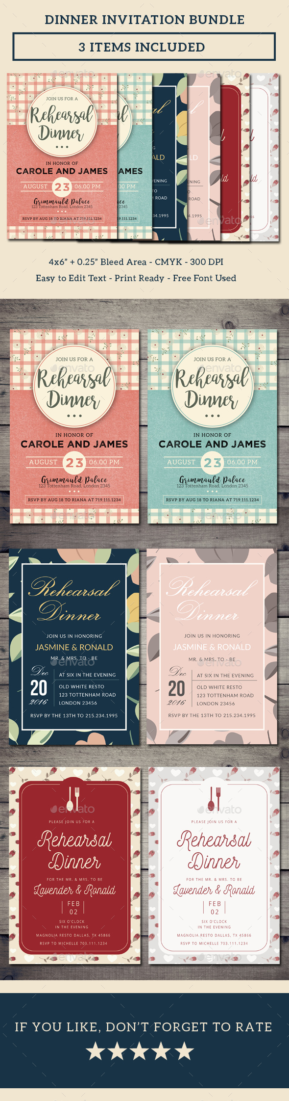 Dinner Invitation Bundle - Invitations Cards & Invites