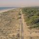 Aerial View Railroad on Sandy Beach