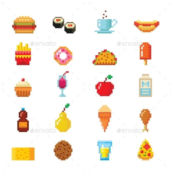 Pixel Art Food Computer Design Icons - Food Objects