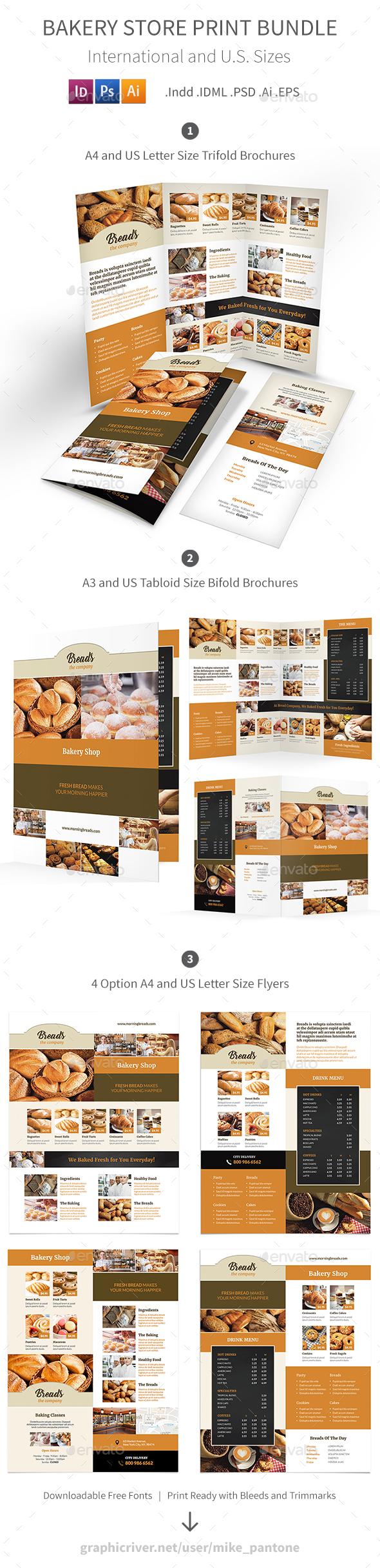 Bakery Store Print Bundle 2 - Informational Brochures