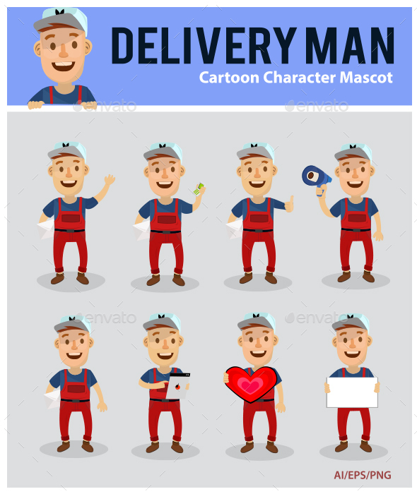 Deliveryman Cartoon Mascot - People Characters