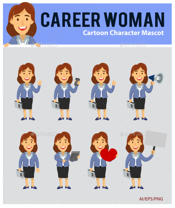 Career Woman Cartoon Mascot - People Characters