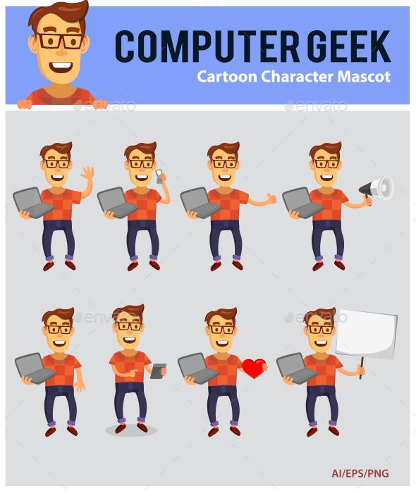 Computer Geek Cartoon Mascot - People Characters