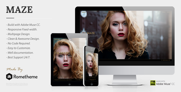 MAZE - Photography Portfolio Muse Template - Creative Muse Templates